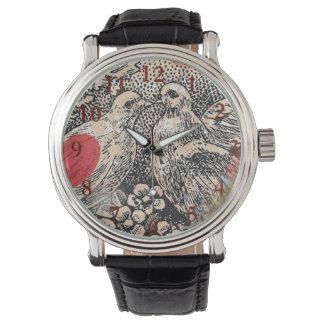 Relógio De Pulso Coração do vintage dos pássaros do amor