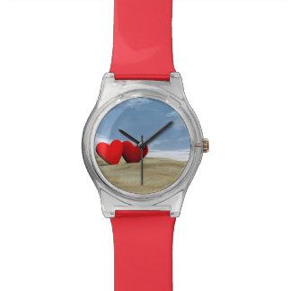 Relógio De Pulso Coração dois na praia - 3D rendem
