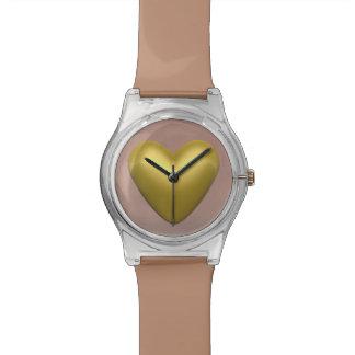Relogio De Pulso Coração dourado - 3D rendem