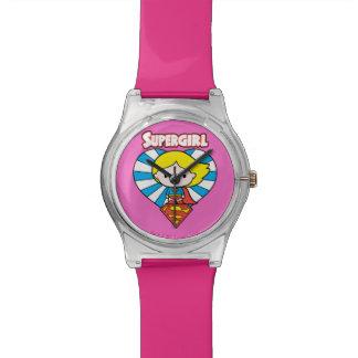 Relógio De Pulso Coração e logotipo de Chibi Supergirl Starburst