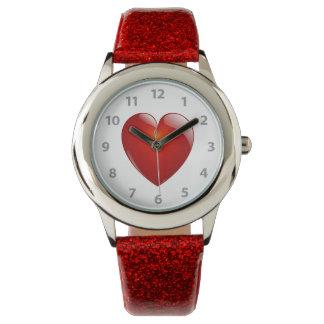 Relógio De Pulso Coração lustroso vermelho