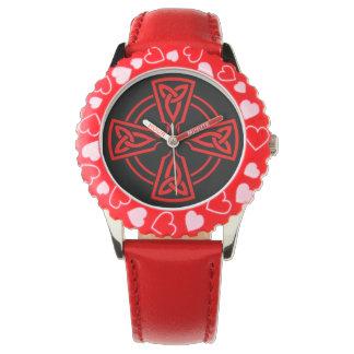 Relógio De Pulso Corações vermelhos de aço inoxidável da moldura