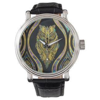 Relógio De Pulso Coruja tribal do ouro no teste padrão do olmo de