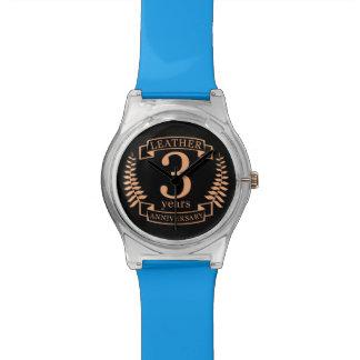 Relógio De Pulso Couro 3 anos de aniversário de casamento
