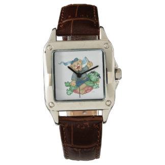 Relógio De Pulso Couro de Brown do quadrado perfeito dos DESENHOS