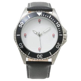 Relógio De Pulso Couro preto de aço inoxidável feito sob encomenda