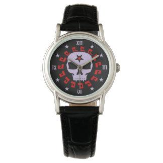 Relógio De Pulso Crânio do vampiro do gótico com Pentagram e