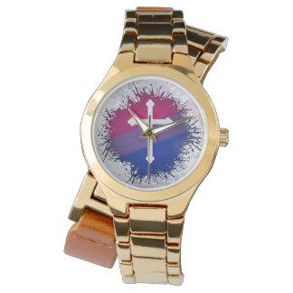 Relógio De Pulso Cruz bissexual do orgulho