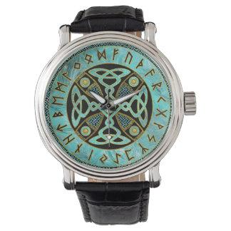 Relógio De Pulso Cruz celta decorativa - e alfabeto dos Runes