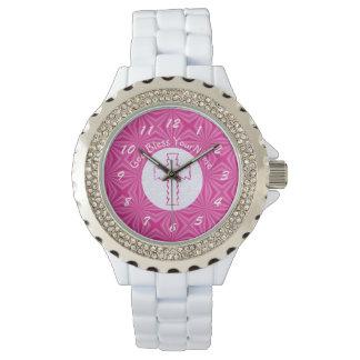 Relógio De Pulso Cruz cor-de-rosa do ziguezague no rosa branco e