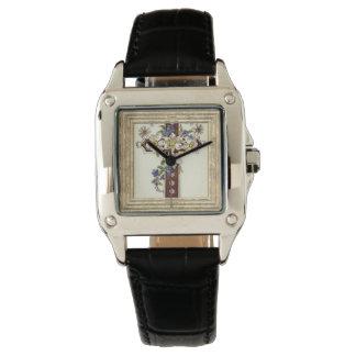 Relógio De Pulso Cruz cristã com flores
