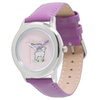 Relógio De Pulso Customizável, baptismo, rosa, menina, cordeiro
