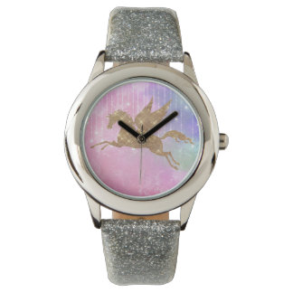 Relógio de pulso da prata do rosa da faísca do
