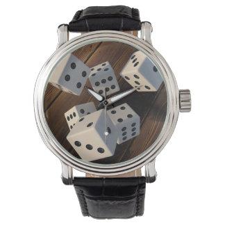 Relógio De Pulso Dados 3D madeira