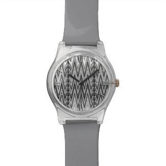 Relógio De Pulso Damasco étnico de Chevron, cinza, preto e branco