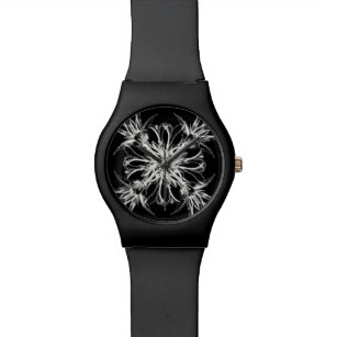 9d7407b6461 Relógio De Pulso Damasco floral preto e branco elegante