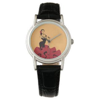 Relógio De Pulso dançarino do flamenco em uma pose espectacular