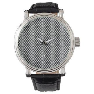 Relógio De Pulso Das bolinhas mínimo elegante legal do branco preto