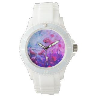 Relógio de pulso de néon dos rosas