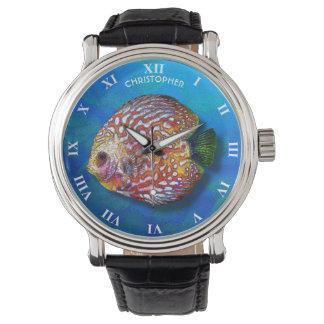 Relógio De Pulso Desenho exótico colorido psicadélico dos peixes do