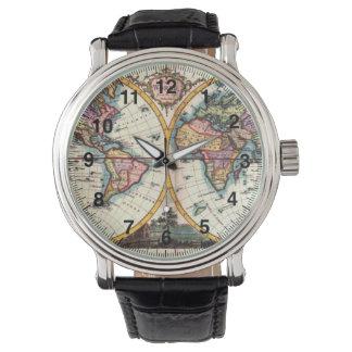 Relógio De Pulso Desenho velho da ilustração do mapa do mundo da