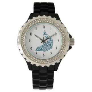 Relógio De Pulso Design à moda corajoso do art deco do pavão da