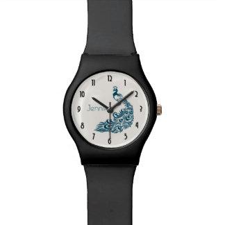 Relógio De Pulso Design à moda do art deco do pavão da cerceta