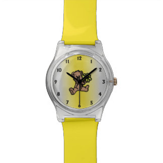 Relógio De Pulso Design amarelo do urso da margarida