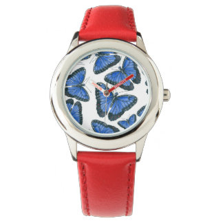 Relógio De Pulso Design azul do teste padrão de borboleta do morpho