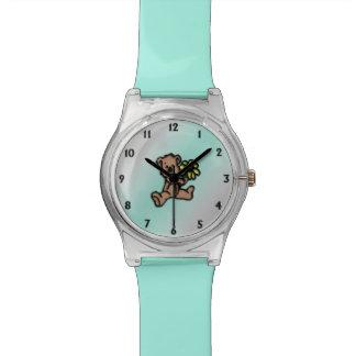 Relógio De Pulso Design do urso da margarida de turquesa
