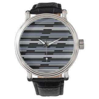 Relógio De Pulso Design enviesado do teste padrão das listras