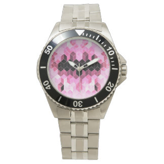 Relógio De Pulso Design geométrico cor-de-rosa & preto intenso