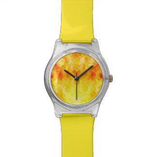 Relógio De Pulso Design geométrico do cubo do Sunburst amarelo
