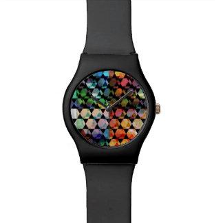 Relógio De Pulso Design gráfico do hexágono abstrato