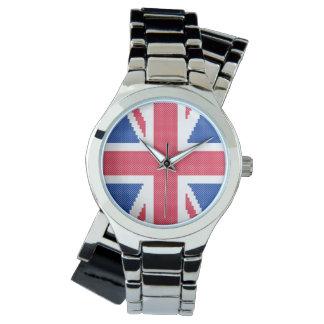 Relógio De Pulso Design original Union Jack do ponto de cruz