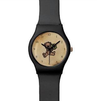 Relógio De Pulso Design rústico do urso da margarida