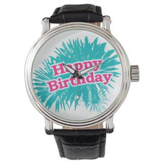 Relógio De Pulso Design tipográfico feliz de Brithday