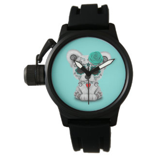 Relógio De Pulso Dia azul do urso polar do bebê inoperante