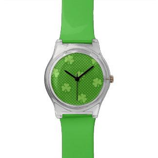 Relógio De Pulso Dia verde de Patricks do santo do teste padrão do