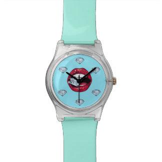 Relógio De Pulso Diamante chique dos lábios feminino