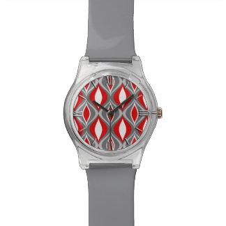 Relógio De Pulso Diamantes, cinzas/cinza & vermelho modernos do