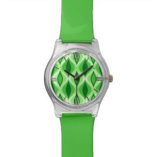 Relógio De Pulso Diamantes, esmeralda & verde limão modernos do