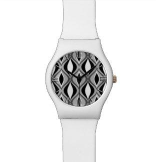 Relógio De Pulso Diamantes modernos, preto, branco e cinzas do meio