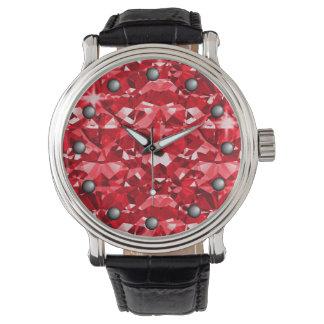 Relógio De Pulso Diamantes vermelhos da faísca do rubi