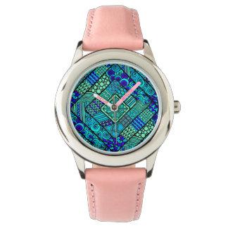 Relógio De Pulso Do abstrato verde do azul de Boho teste padrão