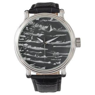 Relógio de pulso do couro do preto do gelo preto