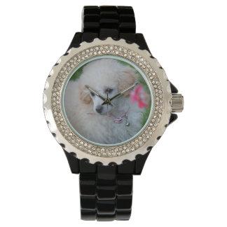 Relógio de pulso do cristal de rocha do cão de