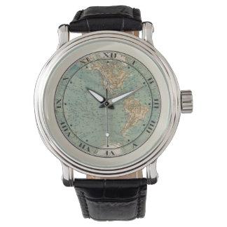 Relógio de pulso do mapa do mundo
