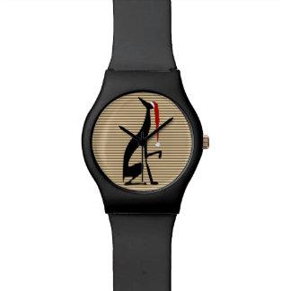 Relógio De Pulso Do Natal legal das listras do galgo cão preto