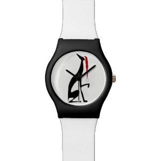 Relógio De Pulso Do preto elegante do Natal do cão do galgo chique